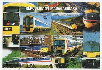 EXPRESS TRAINS REPOBLIKAN'I MADAGASIKARA 1999 MNH STAMP SHEETLET