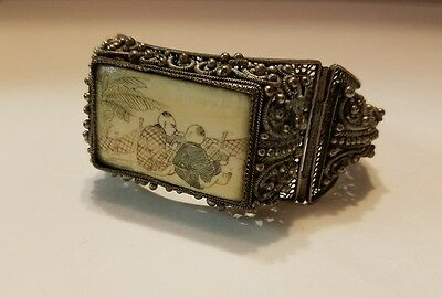 Antique Large Chinese Silver Scrimshaw Filigree Bracelet