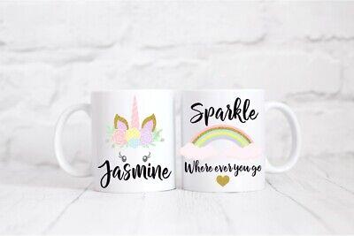 Personalised Mug & Coaster Set.Unicorn, Sparkle where ever you go, Girl's Gift Mug Coaster Set