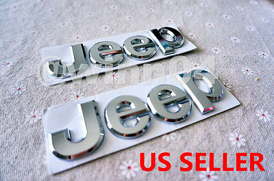 Silver Chrome 3D JEEP Hood Trunk Emblem Logo Stickers Badge Set 2pcs (fits:JEEP)
