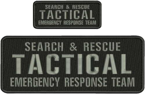 SEARCH & RESCUE TACTICAL E R T EMB  4X11&2X5 HOOK ON BACK  BLK/GRAY