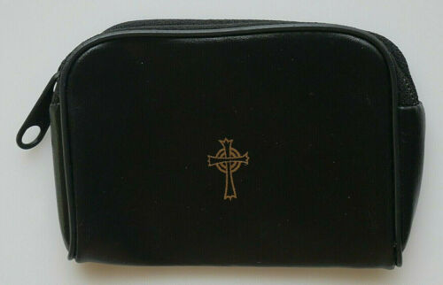 """Artificial Black Leather Rosary Case 4-1/2"""" x  3-1/4"""""""