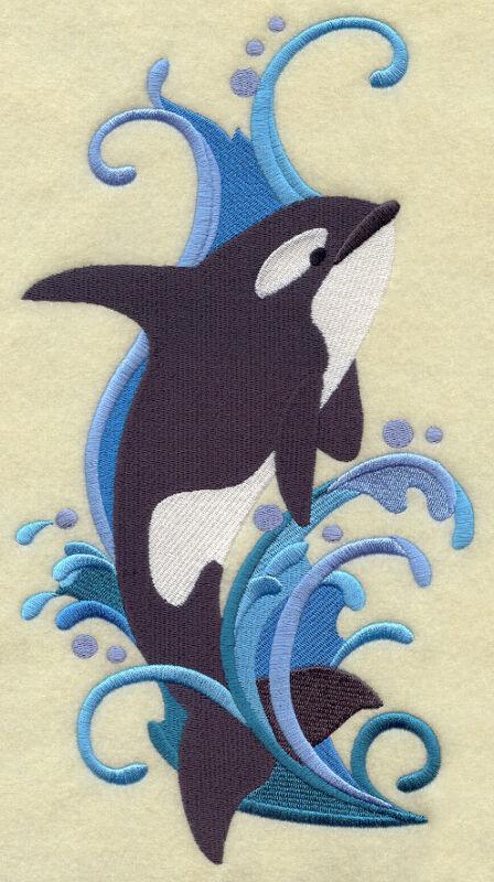 Embroidered Sweatshirt - Orca Spray H3533 Sizes S - XXL