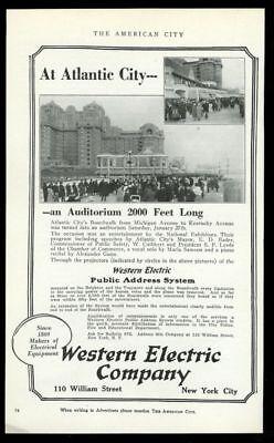 1923 Atlantic City photo Western Electric PA Public Address System print ad