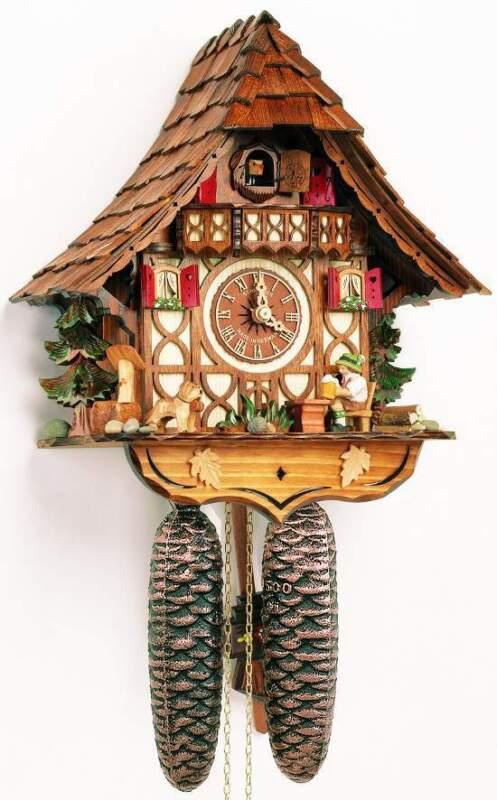 (New!) 8-DAY CUCKOO CLOCK MOVING BEER DRINKER ANTON SCHNEIDER 8T 1673/9