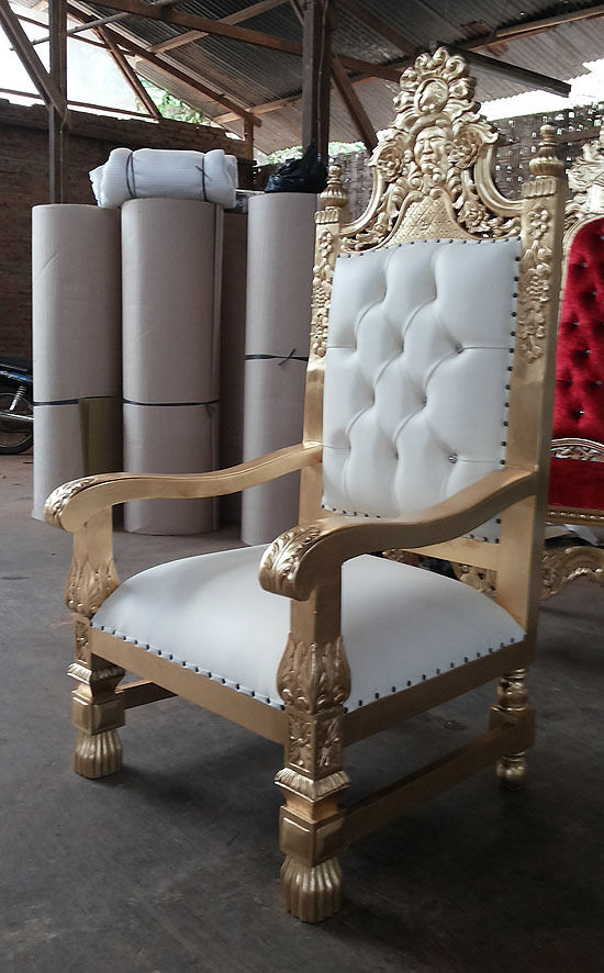 2 X Large King Queen Throne Chair   Gold U0026 Leather   Asian Wedding Furniture  Hotel