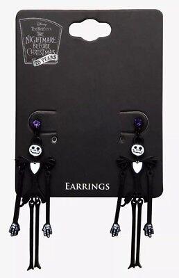 (Disney The Nightmare Before Christmas Jack Purple Gemstone Dangle Earrings NWT!)