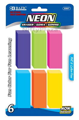 Neon Bevel Eraser Wedge Colored Soft And Non Abrasive 6 Per Pack - Us Shipping
