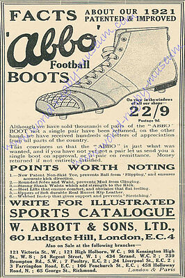 'Abbo Boots' advertisement 1922 Modern Reproduction Rugby Poster Size A2