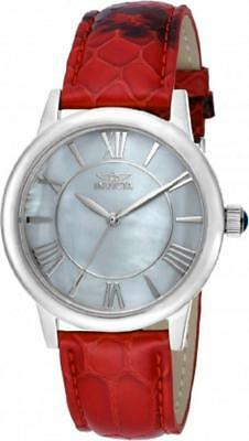 Invicta 18282 Angel MOP Dial Red Leather Strap Silver tone Womens Watch