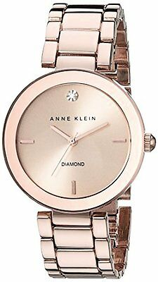 Anne Klein Womens Rose Gold-Tone Diamond-Accented Bracelet Watch Ak Anne Klein Gold Tone Diamond Watch