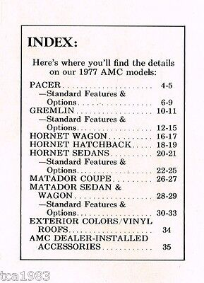 Lrg. 1977 AMC GREMLIN / PACER / HORNET / MATADOR Brochure / Catalog, '77