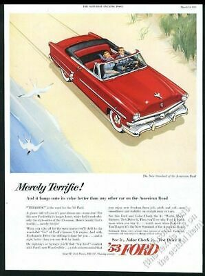 1953 Ford Crestline convertible red car at beach illustrated vintage print ad