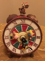 Vtg Animated Sleeping Mice Mouse  Alarm Clock Music Box Figurine Coca Cola Tune