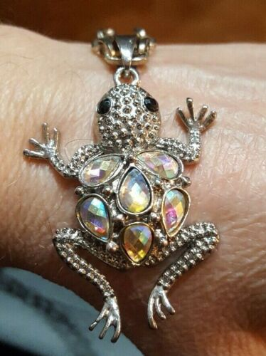 """RETRO Vintage Jumping Climbing FROG Large AB Facet Stones 2"""" PENDANT NECKLACE"""