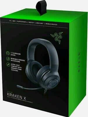 Razer Kraken X Gaming Headset 7.1 Surround Sound Ultra-Light With A Microphone !