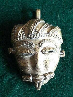 Vintage Ashanti Brass Mask Pendant Passport Amulet 1