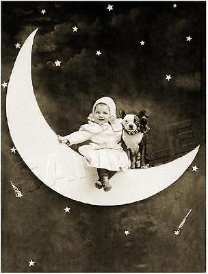 BABY & BOSTON TERRIER DOG on PAPER MOON VINTAGE *CANVAS* Antique PHOTO Art PRINT