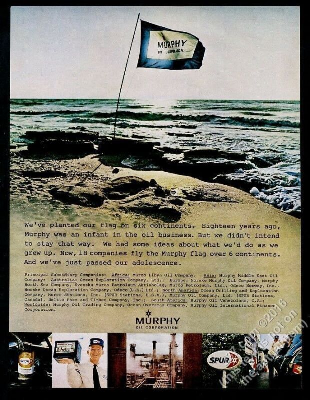 1969 Murphy Oil Spur gas station refinery & beach photo vintage print ad