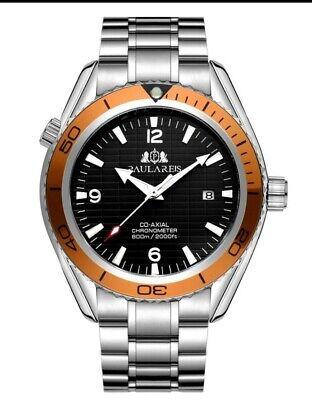 Mens Automatic Mechanical homage watch UK Orange Diver 44mm