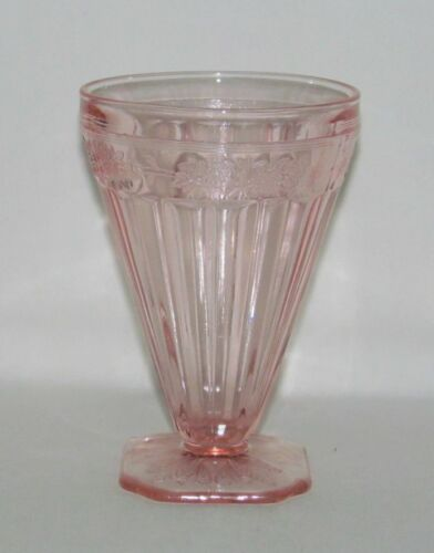 Jeannette Glass Co. ADAM Pink Footed Water Tumbler