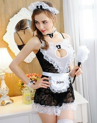 Night Party French Maid Halloween Costume Lingerie, Cosplay Fancy Dress, UK 8-12](Party Halloween Costumes Uk)