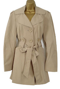 RRP £90 NEW EX DEBENHAMS COLLECTION BLACK BEIGE TRENCH COAT JACKET MAC SIZE 8-18