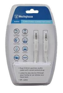 Westinghouse 3.5mm Stereo Connector Cable for iPad, iPhone, iPod, Smartphone, Tablet and MP3 Players - White