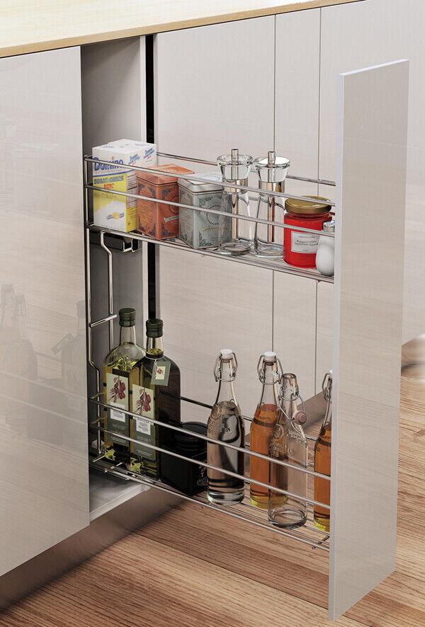 soft close Schrankauszug 3 Fächer für  Küchenschränke Unterschränke 15 - 20cm