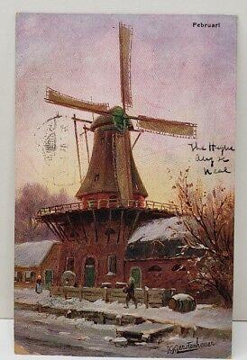 Gerstenhauer Signed Dutch Windmill Netherlands 1905 Postcard B13