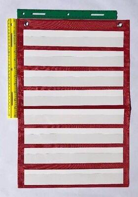 Red Classroom Pocket Chart by Happy Teacher 8 Pockets Teaching School - School Teacher Supplies