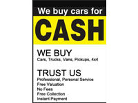 WE BUY ALL SCRAP / UNWANTED / DAMAGED CARS & VANS WITH / WITHOUT MOT