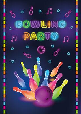 Einladungskarten Einladungen Bowling Party Kinder Geburtstag bunt Erwachsene