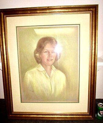 """large 34"""" vintage portrait Woman w Yellow Blouse Original Pastel Art Ruamie 1984"""