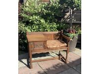 Solid Oak Wood Bros Old Charm Family Telephone Seat and Table