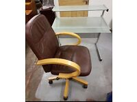 GLASS DESK AND BROWN LEATHER CHAIR