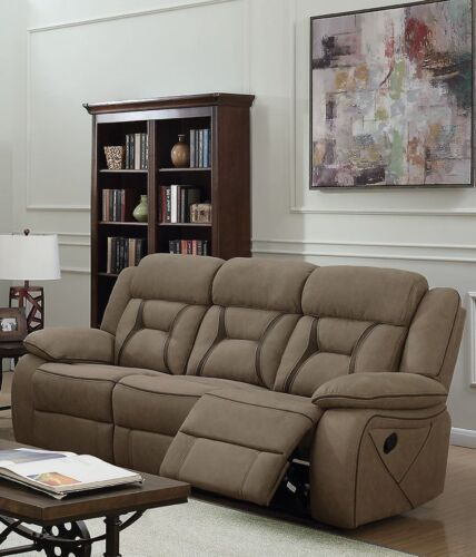 TAN FAUX SUEDE RECLINING SOFA LIVING ROOM FURNITURE