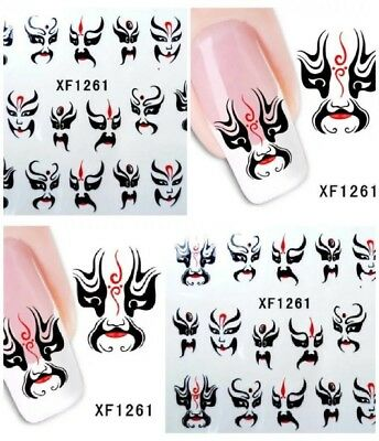 USA HALLOWEEN SCARY FACES MASKS Water Transfer Nail ART - Scary Nails Halloween