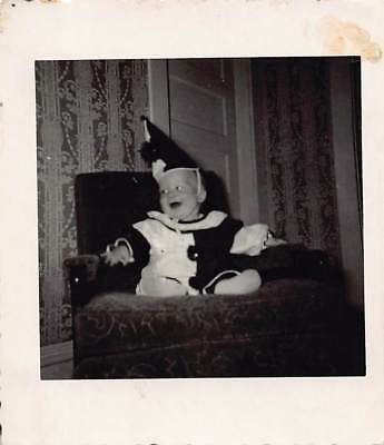 ADORABLE BABY IN CLOWN COSTUME SUIT HAT POM POMS VTG 1950s BLACK & WHITE PHOTO  - Black And White Clown Hat