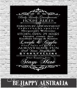 GRANDPARENTS PERSONALISED HOUSE RULES PRINT ON STRETCHED CANVAS 40cmx50cmx4cm