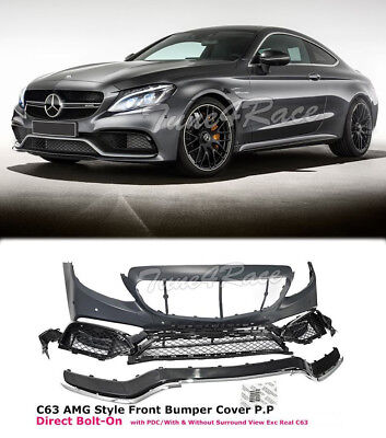 For 2015-2017 W205 Sedan 2017 C205 Coupe AMG Style Front Bumper Kit No Grille