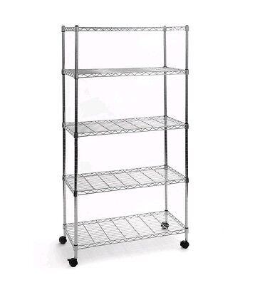 Heavy Duty 5 Tier Metal Storage Shelving Unit Wire Rack System Wheels Adjustable Adjust Wire Shelving System