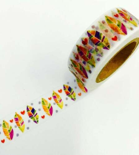 Bright Colorful Feathers  Washi Tape Decorative Planner Supply Bujo DIY Crafts