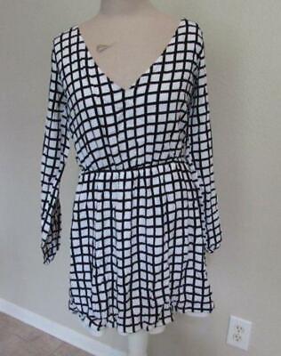 ABERCROMBIE & FITCH womens Lrg black white windowpane check dress