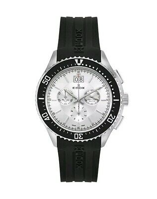 Edox C1 Chronograph Big Date Men's Quartz Watch 10026-3CA-AIN Black Rubber ~NIB~