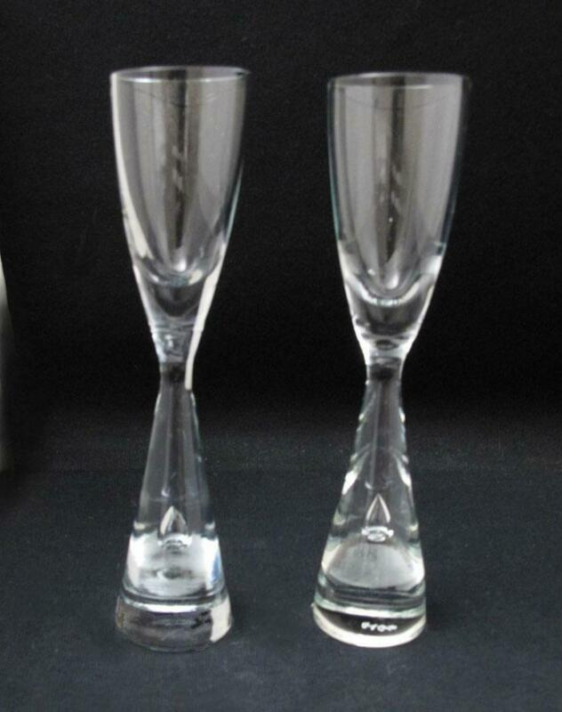 2x HOLMEGAARD PRINCESS SCHNAPPS GLASSES CANDLE HOLDERS MID CENTURY DANISH MODERN