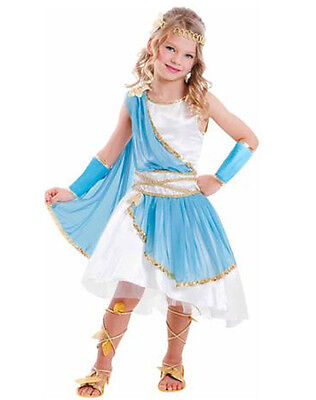 Goddess Girl Costume Child Dress Up Halloween Greek Roman Blue White Gold Godess