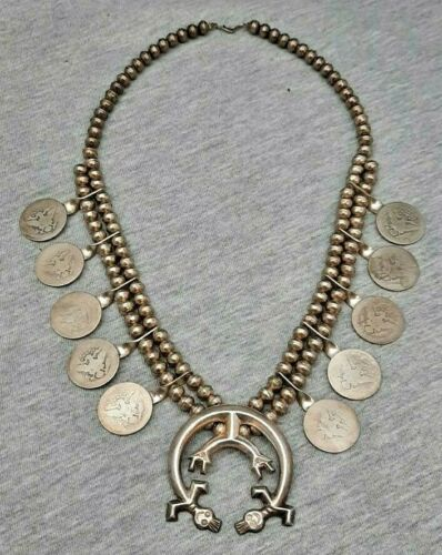 Navajo Vintage Silver Southwest Old Pawn With Quarter Squash Blossom Necklace