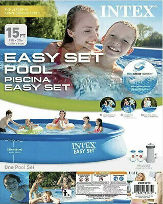 """Intex 15'x33"""" Piscina Easy Set Above Ground Pool Filter Pump NEW 28157EH"""