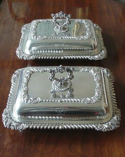 1821 PAIR STERLING SILVER COVERED ENTRÉE DISHES WITH CREST SHEFFIELD – 129 OZS